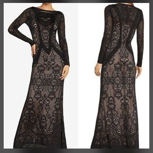 BCBGMAXAXRIA Long Sleeve Lace Fringe Trim Gown